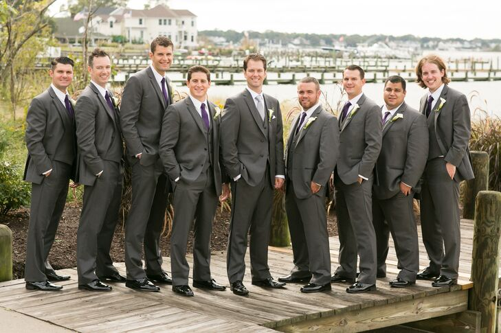 Gray Tuxedo and Purple Tie Groomsmen Attire