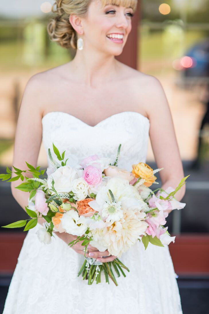Dahlia Ranunculus and Rose Bridal Bouquet