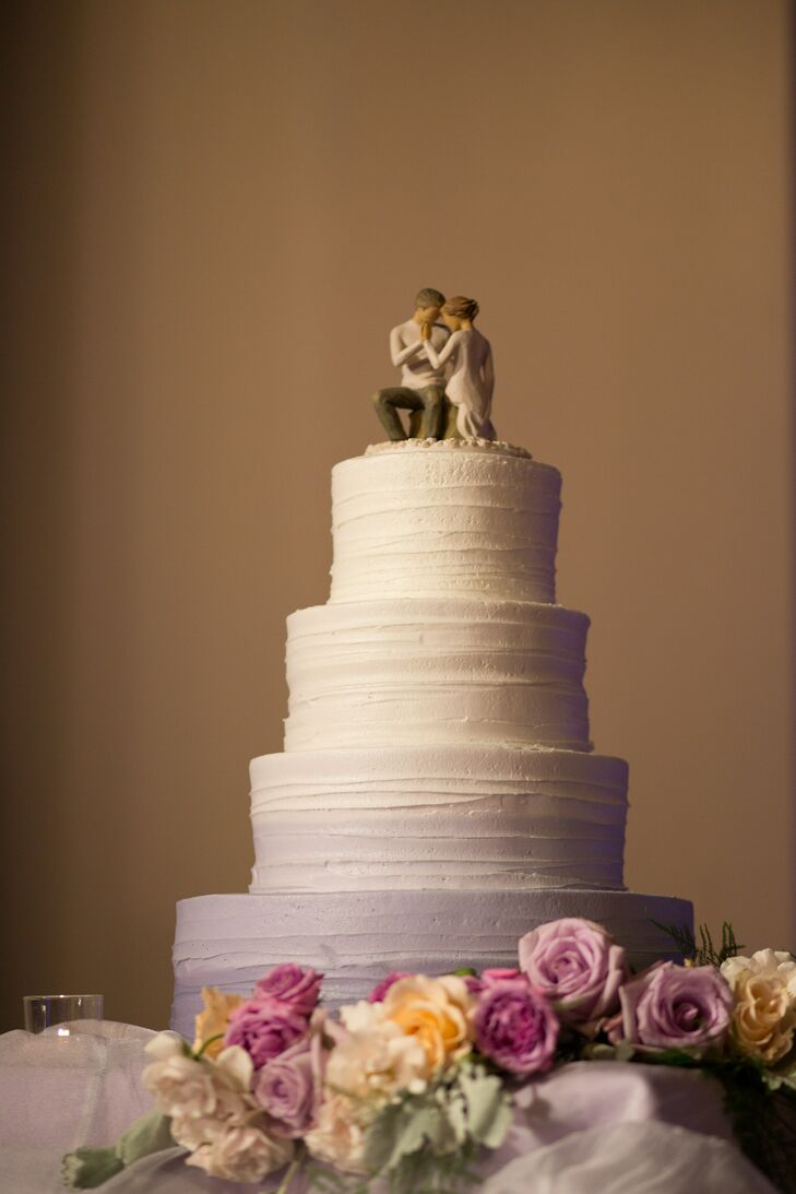 For dessert, Dana and Jay served a cake frosted with lavender ombre buttercream.