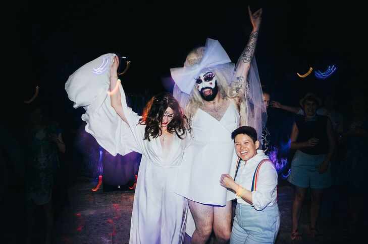 Couple Posing With Drag Queen During Wedding in Menorca, Spain
