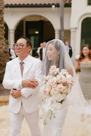 Father of the Bride Escorting Bride Down Aisle in Granite Bay, California