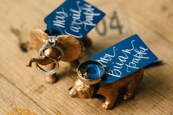 Gold Animal Escort Cards with Calligraphed Tags