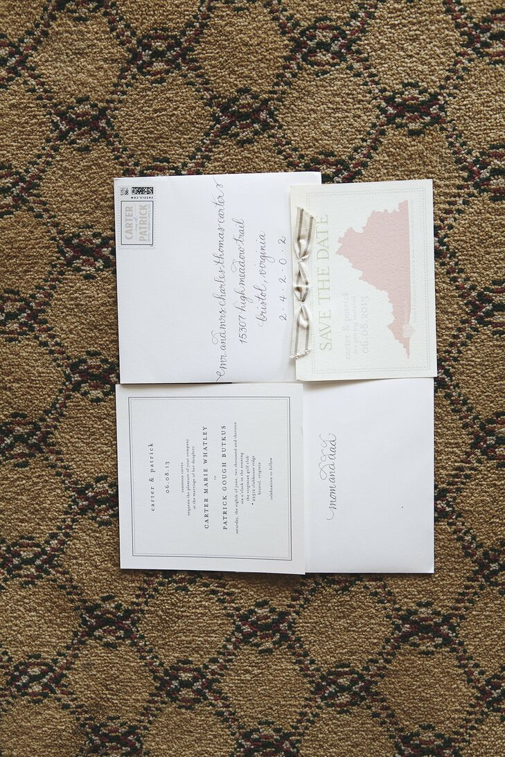 The couple chose simple wedding invitations online, and then used a local calligrapher to address the envelopes for a personal touch.