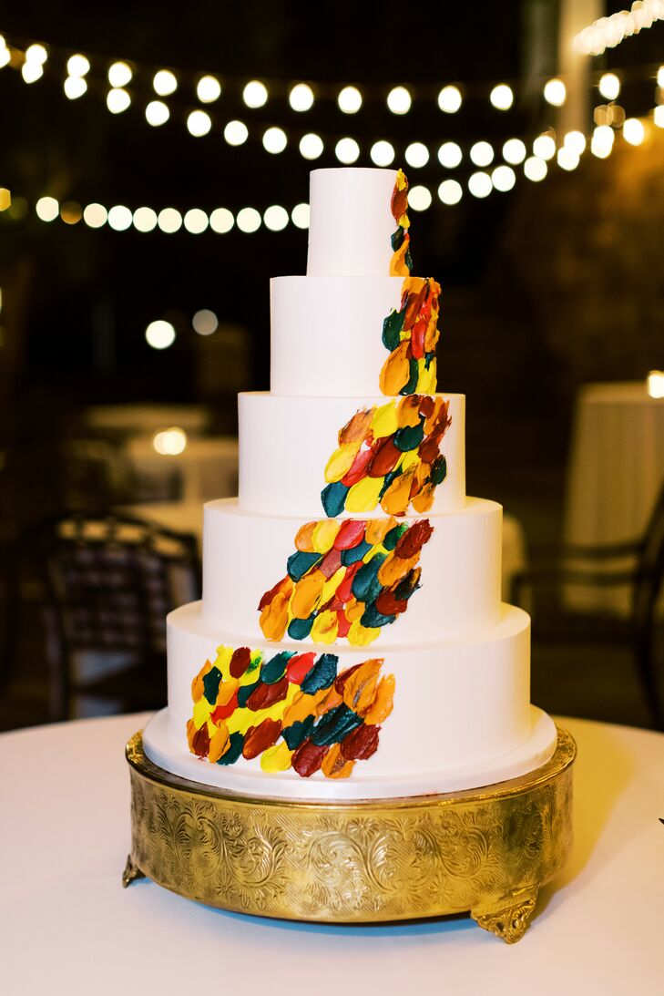 Paint-Inspired Cake at Ballantyne Country Club Wedding in Charlotte, North Carolina