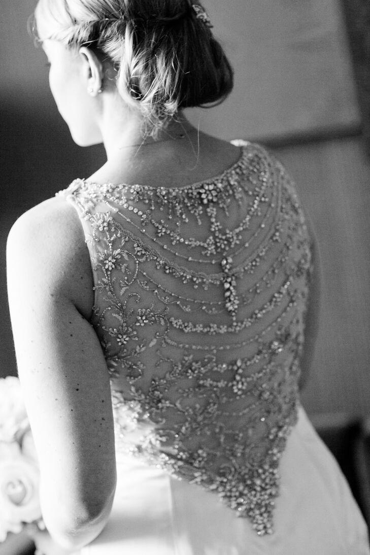 Sleeveless Lazaro Wedding Dress With Embellished Back Detail