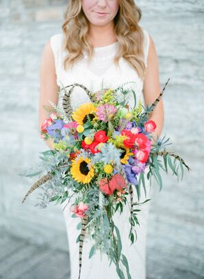 Colorful Bridal Bouquet with Sunflowers and Feathers
