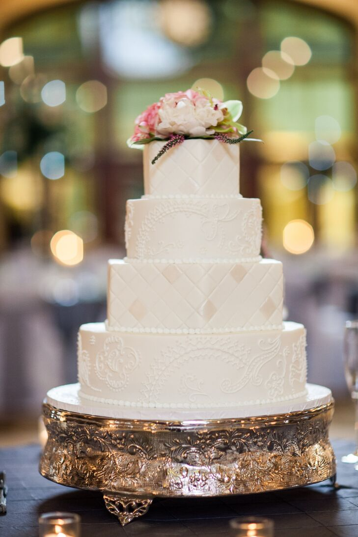 Paisley And Quilted Wedding Cake