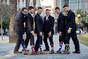 Groomsmen in Personalized Sports Team Socks