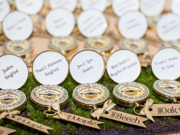 Compass Escort Cards with Tree-Inspired Table Names