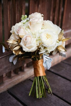 White Rose and Gold Leaf Bridal Bouquet