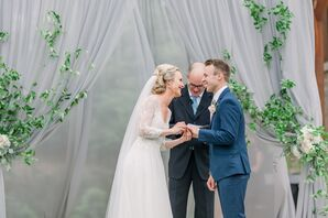 Whimsical Wedding Ceremony with Draping and Greenery