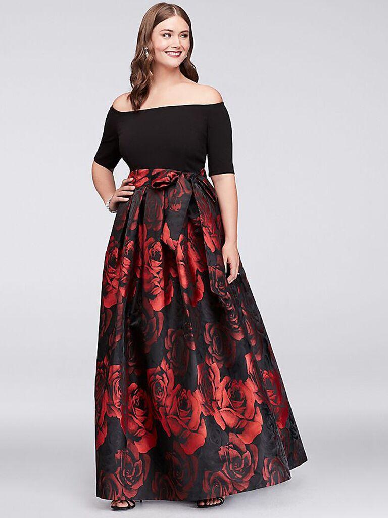 c3a55409dfa off the shoulder black plus size bridesmaid dress