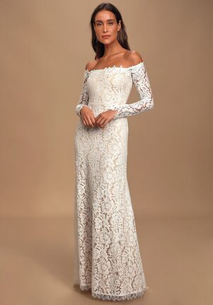 Lulus Romance Dreamer White Lace Off-the-Shoulder Maxi Dress Sheath Wedding Dress