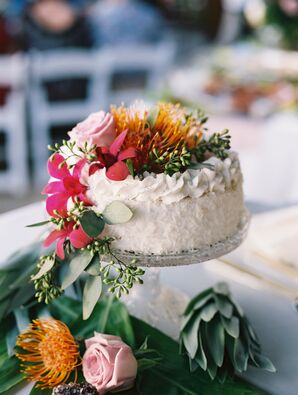 Colorful, Tropical DIY Wedding Cake