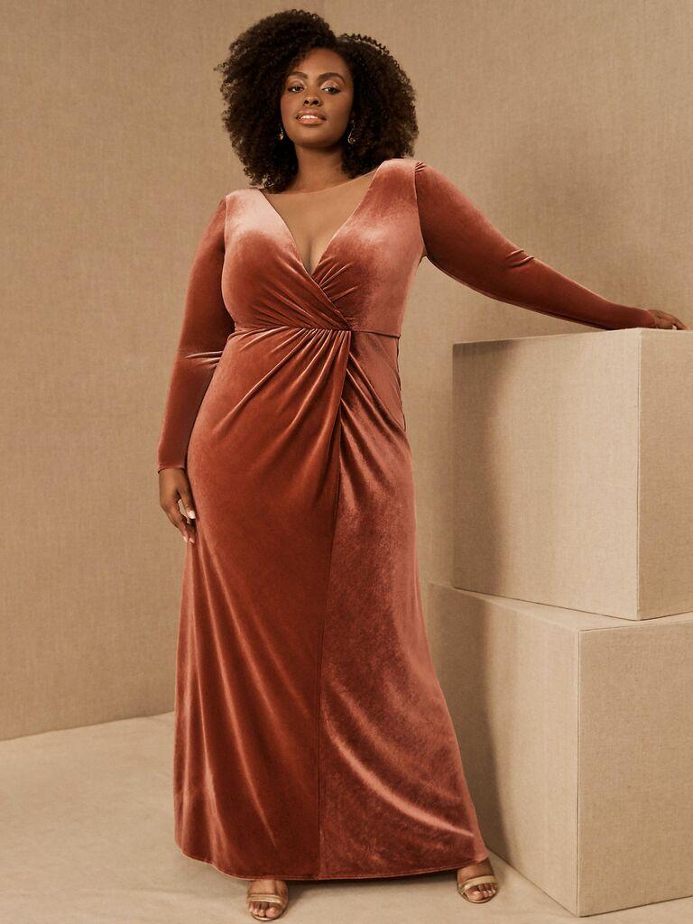 velvet long sleeve maxi dress