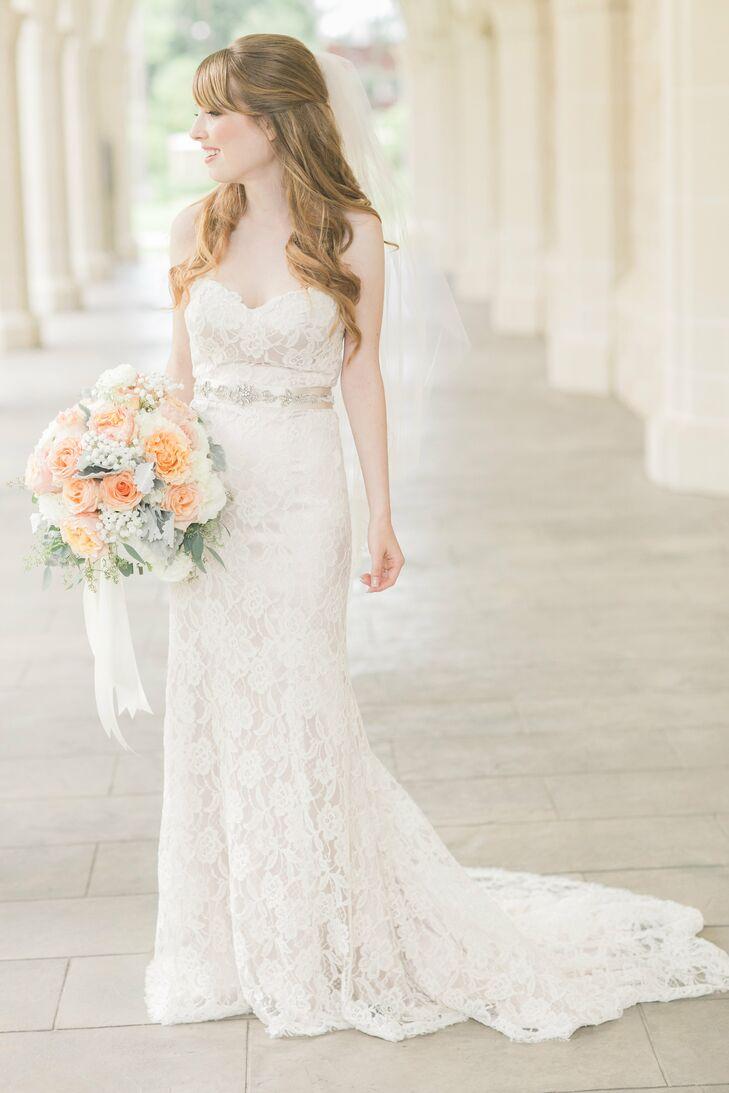 Christos Strapless Lace Mermaid Style Wedding Dress