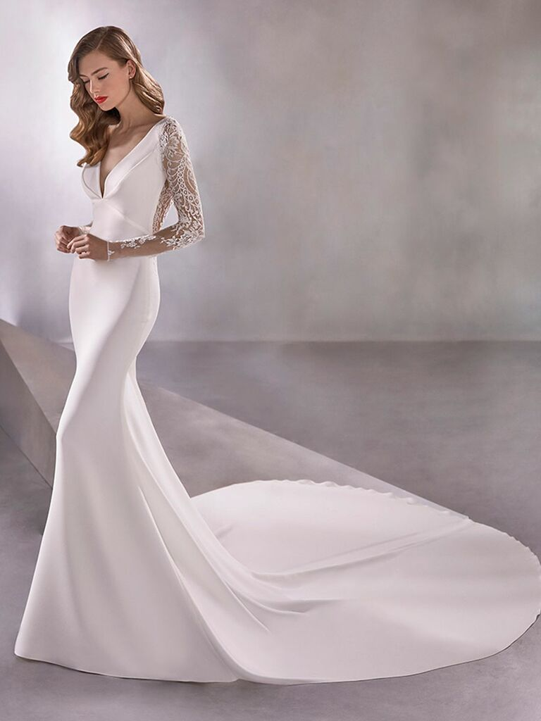 Atelier Provonias wedding dress long sleeve trumpet gown with sheer lace back