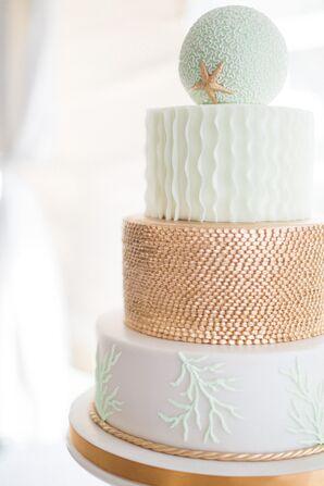 Modern Round Beach-Inspired Wedding Cake