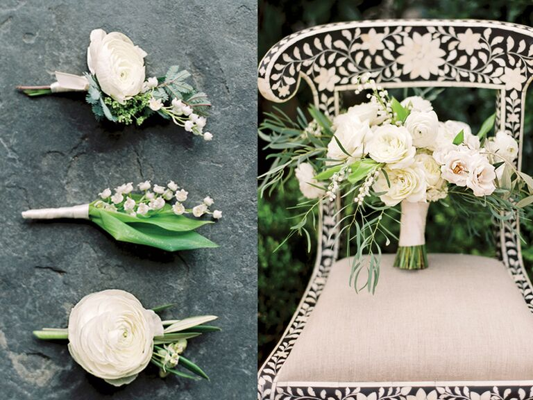 White florals for a wedding bouquet and matching boutonnieres