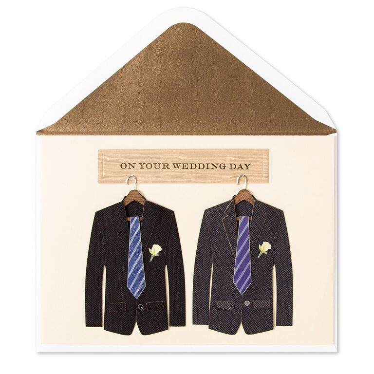 Groom and groom suits wedding day card
