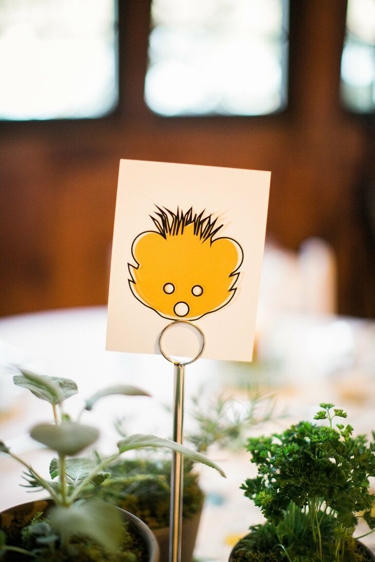 The centerpieces were potted herbs that the guests could take home as fun and functional wedding favors.
