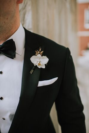 Formal Orchid Boutonniere and Black Tuxedo