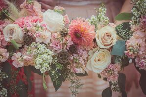 Natural Blush and Ivory Bridesmaids Bouquets
