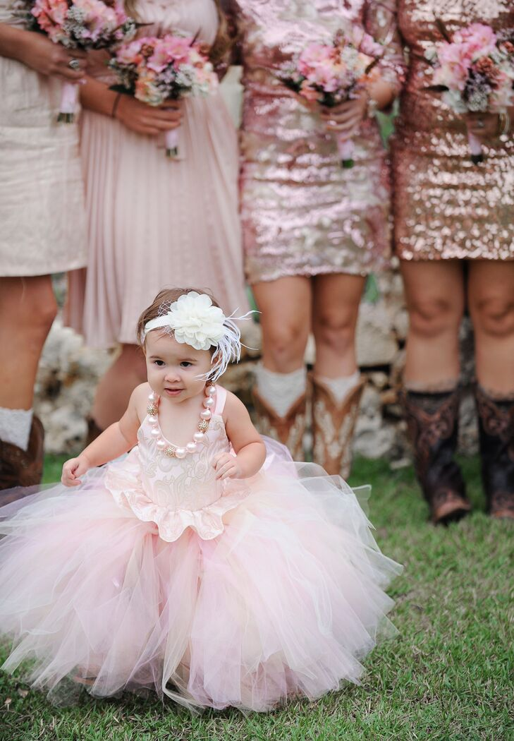 A Pink Tutu Flower Girl Dress with Pink Beaded Necklace and Floral Headband 7b5b584c4f1