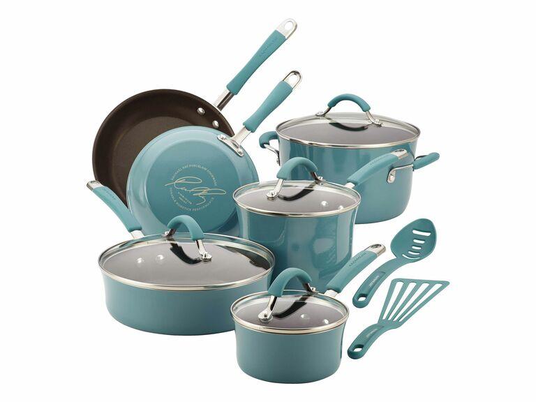 Rachael Ray blue nonstick cookware set