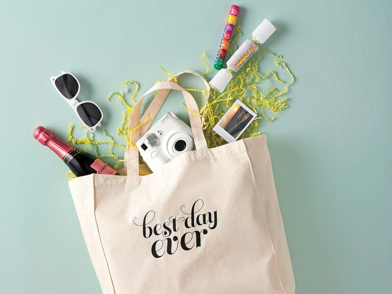DIY printed canvas welcome tote with sunglasses champagne camera