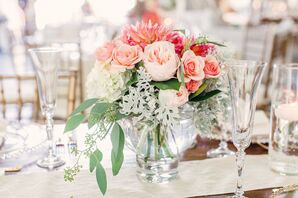 Pink and Green Floral Centerpiece with Roses