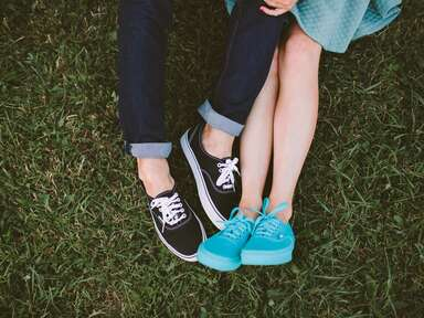 blue sneakers engagement shoot