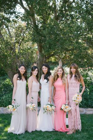 Mismatched Blush Ombré Bridesmaid Dresses