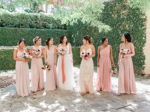 Romantic Blush-Pink Bridesmaid Dresses