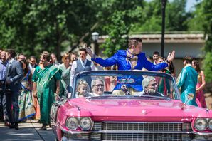 The Groom's Processional in Hot-Pink Cadillac