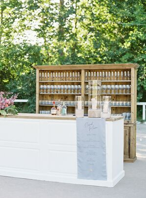 Classic Neutral-Colored Outdoor Bar with Exposed Wood