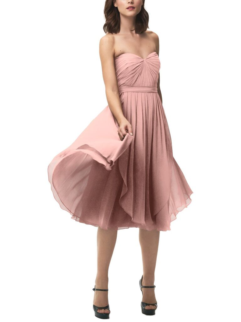 Short strapless dusty rose bridesmaid dress