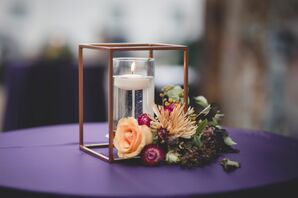 Candle Inside Copper Cube Frame with Flowers