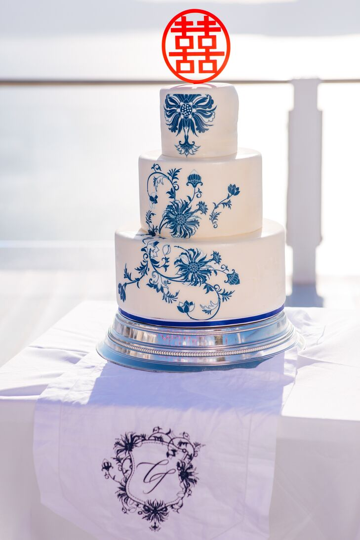 Tiered Wedding Cake with Blue Design