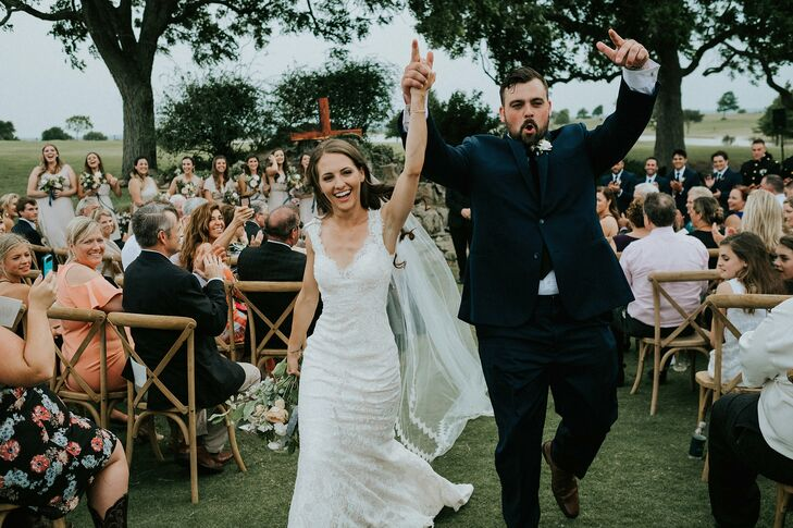 Katy Broesche (24 and a graduate student) and Trevor Smyth (24 and a sales rep) kept their nuptials close to home by marrying at the bride's remote fa