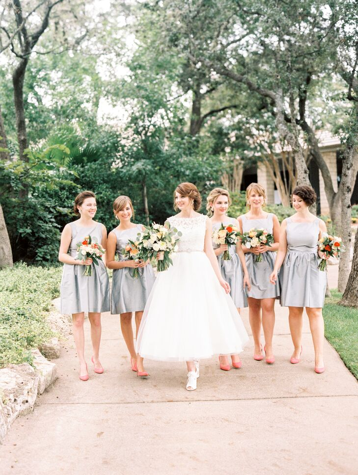 French Gray Cocktail Length Bridesmaid Dresses