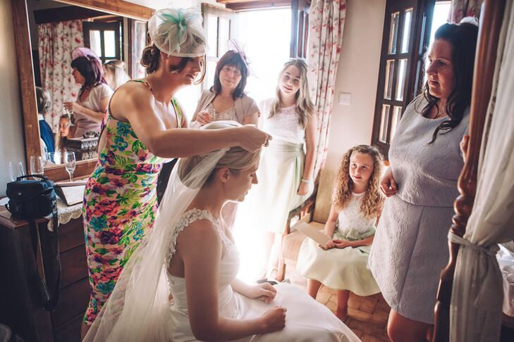 Bridal Veil Secured with Diamante Hair Clip