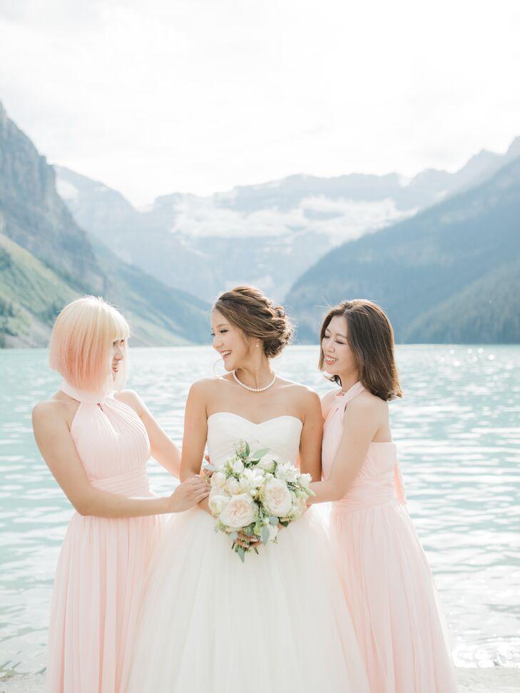 Blush Chiffon Halter Bridesmaid Dresses