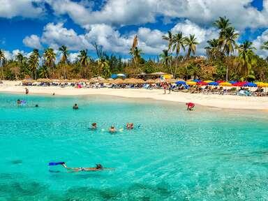 Snorkeling at Mullet bay beach, Netherland Antilles, Sint Maarten/St. Martin