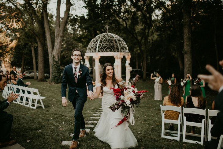 Rustic Bride and Groom Recessing from Outdoor Ceremony