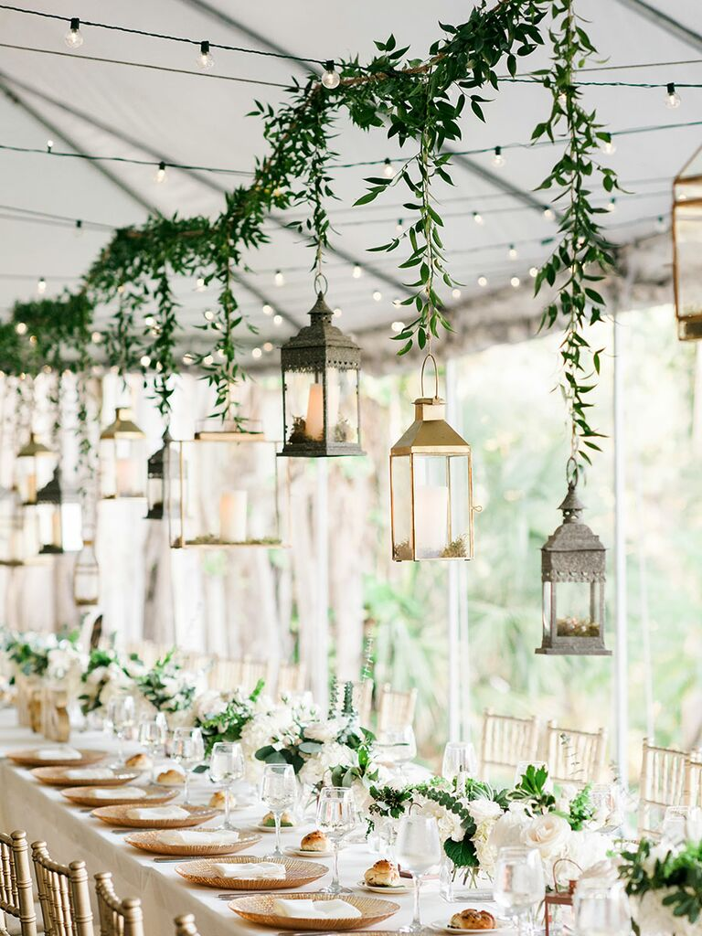 Outdoor hanging lanterns for rustic wedding