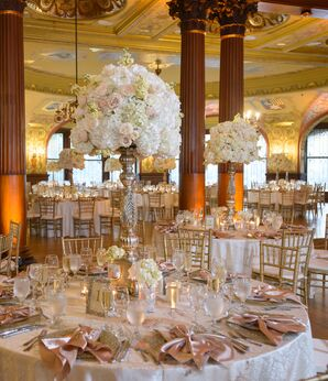 Luxury Reception with Tall Rose and Hydrangea Centerpieces