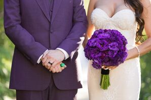 Glam Purple Bouquet and Groom's Suit