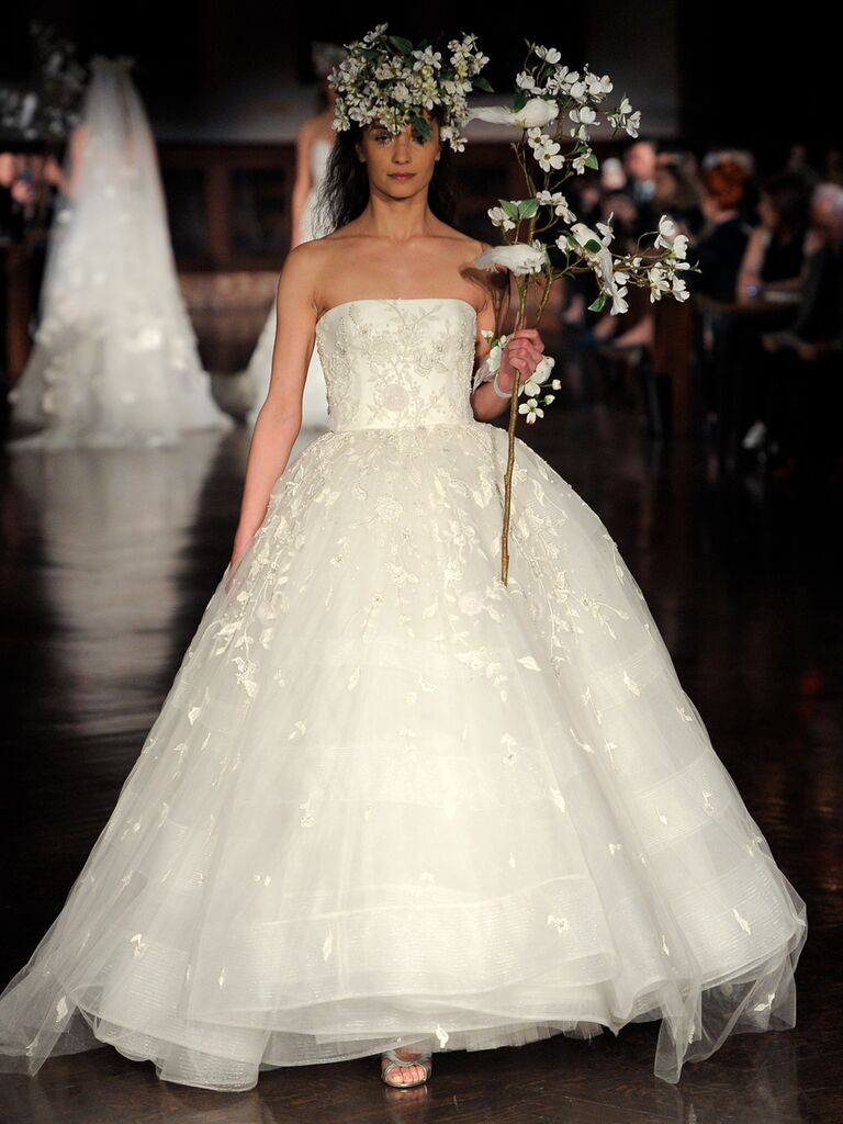 Reem Acra Spring 2019 strapless ball gown with floral embroidery