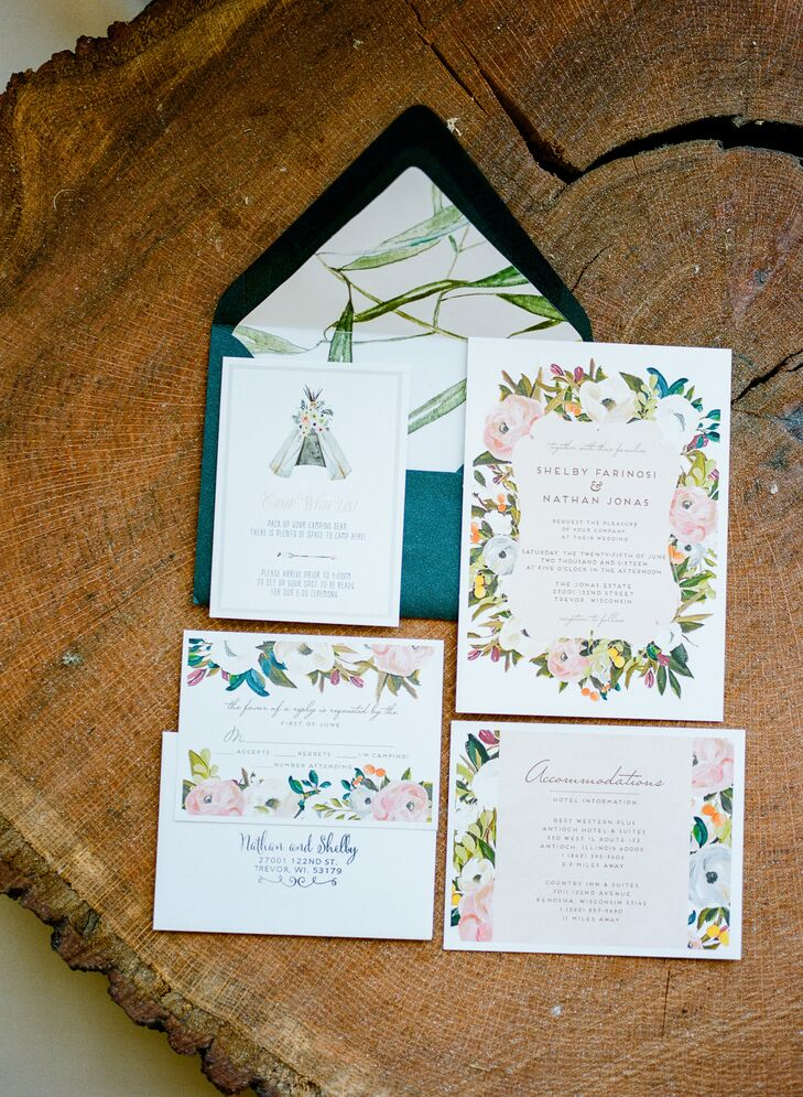 Invitations set the tone for a simple yet elegant backyard garden party in Trevor, Wisconsin.